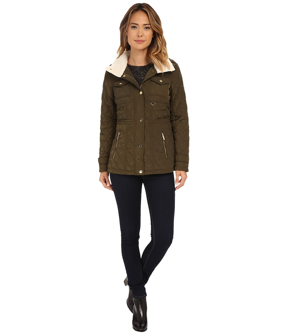 MICHAEL Michael Kors - Sherpa Lined Snap Front Quilt (Olive) Women's Clothing