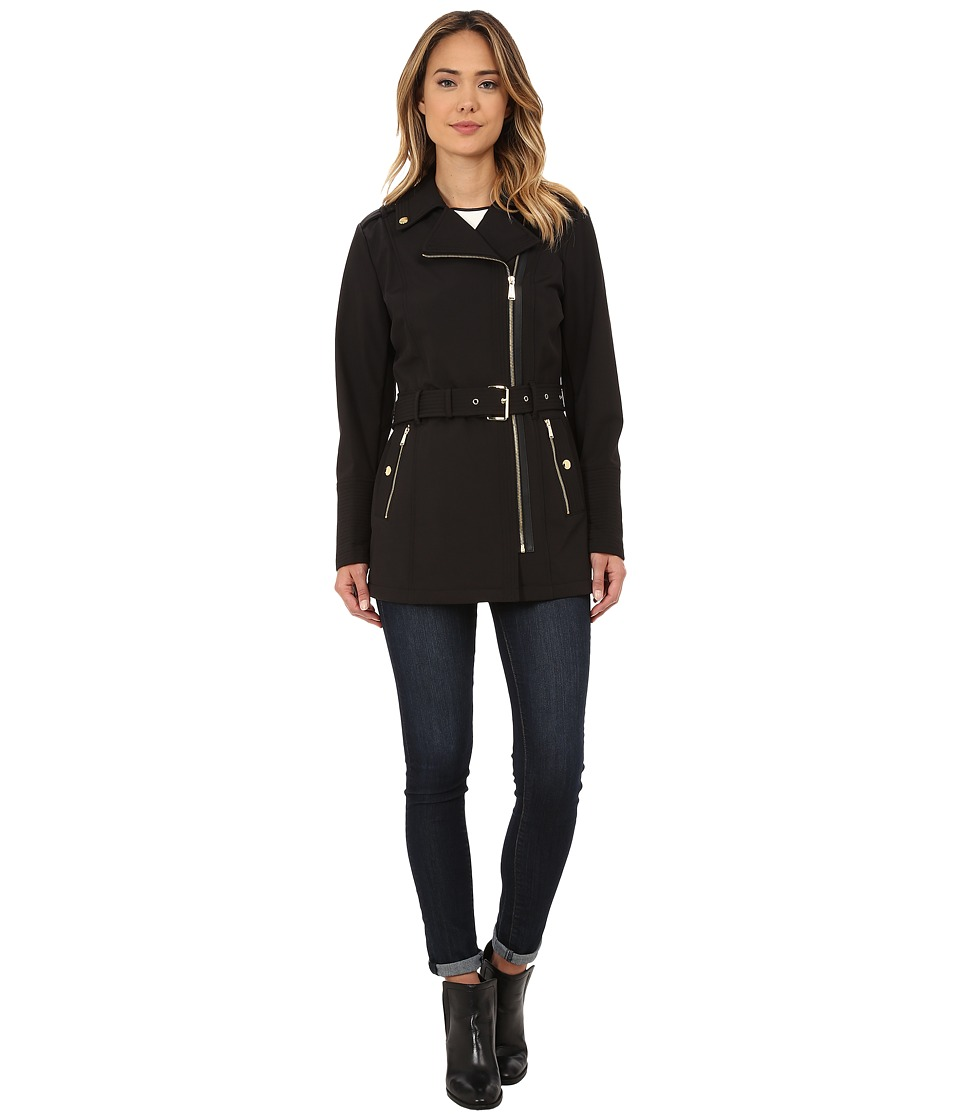 MICHAEL Michael Kors - Asymmetrical Zip Soft Shell (Black) Women's Coat
