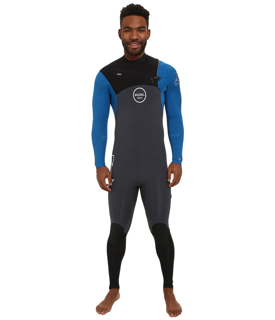 XCEL Wetsuits - 3/2mm X2 Infiniti Comp Quickdry Full Suit (Gunmetal/Natutical Blue/Black) Men's Wetsuits One Piece