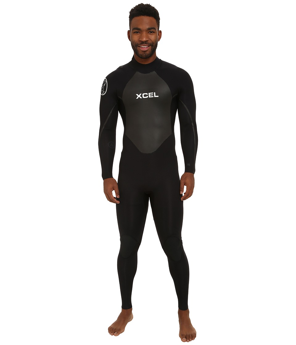 XCEL Wetsuits - 3/2mm OS Axis Quickdry Full Suit (All Black/Silver Ash Logos) Men's Wetsuits One Piece