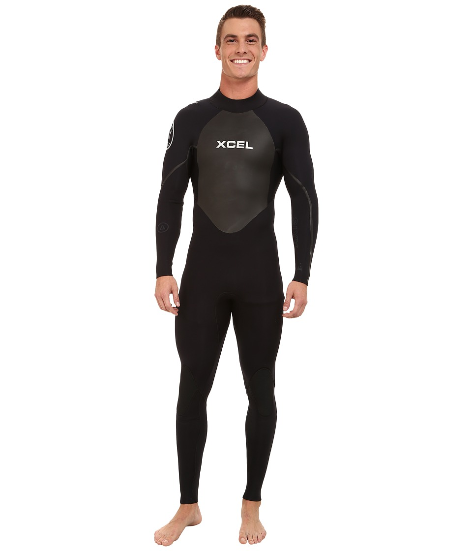 XCEL Wetsuits - 4/3mm OS Axis Quickdry Full Suit (All Black/Silver Ash Logos) Men