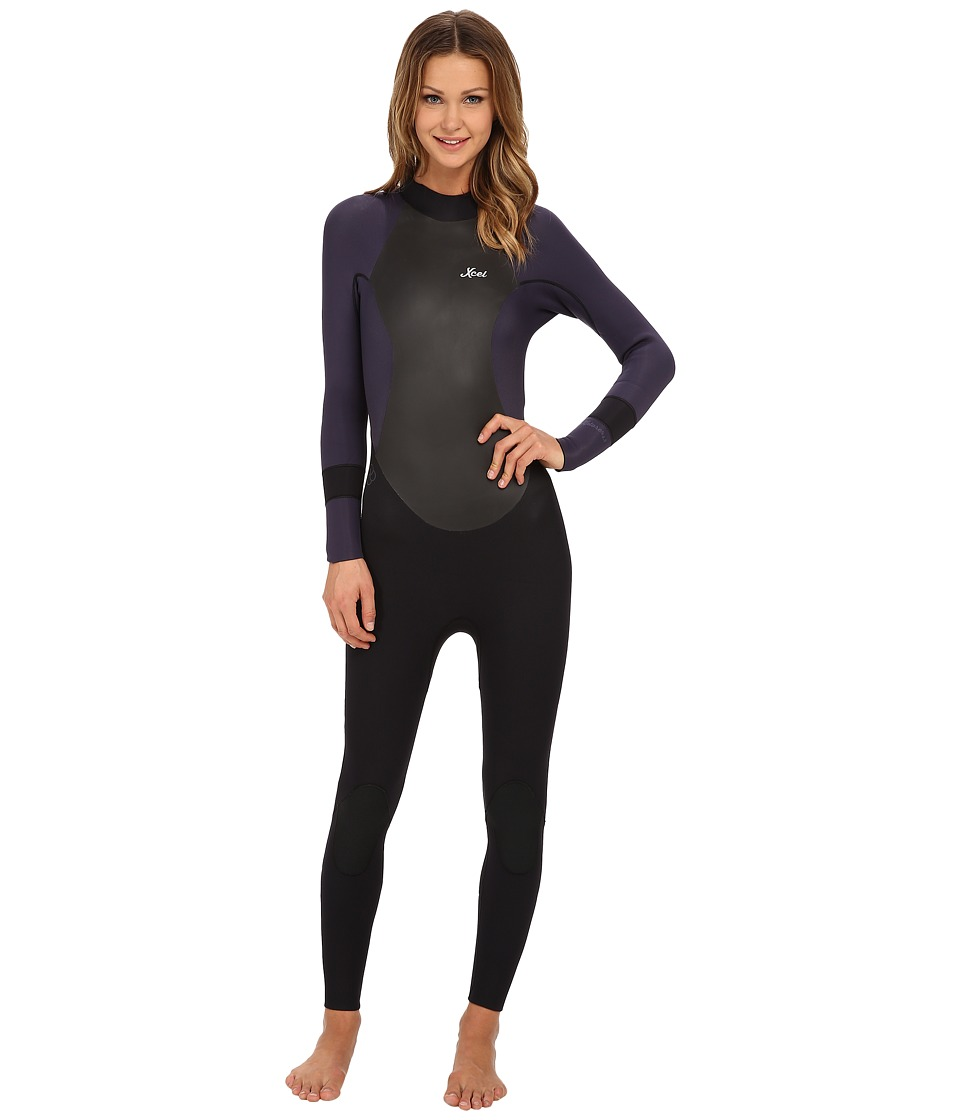 XCEL Wetsuits - 4/3 OS Xplorer Full Suit (Black/Purple Haze) Women's Wetsuits One Piece