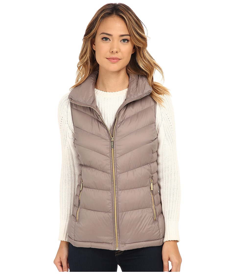 MICHAEL Michael Kors - Stand Collar Packable Vest (Taupe) Women's Vest