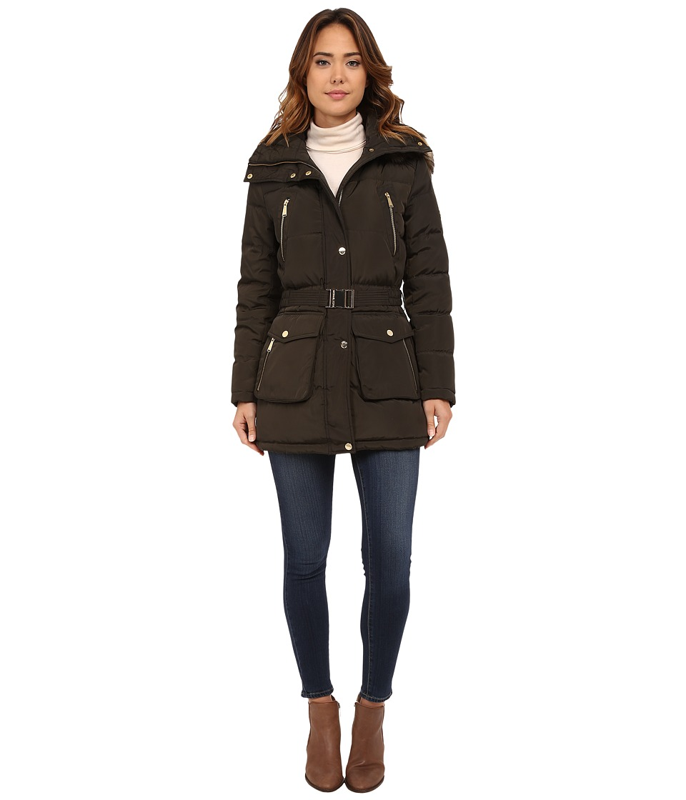 MICHAEL Michael Kors - Faux Fur Belted Four-Pocket Coat (Dark Moss) Women's Coat