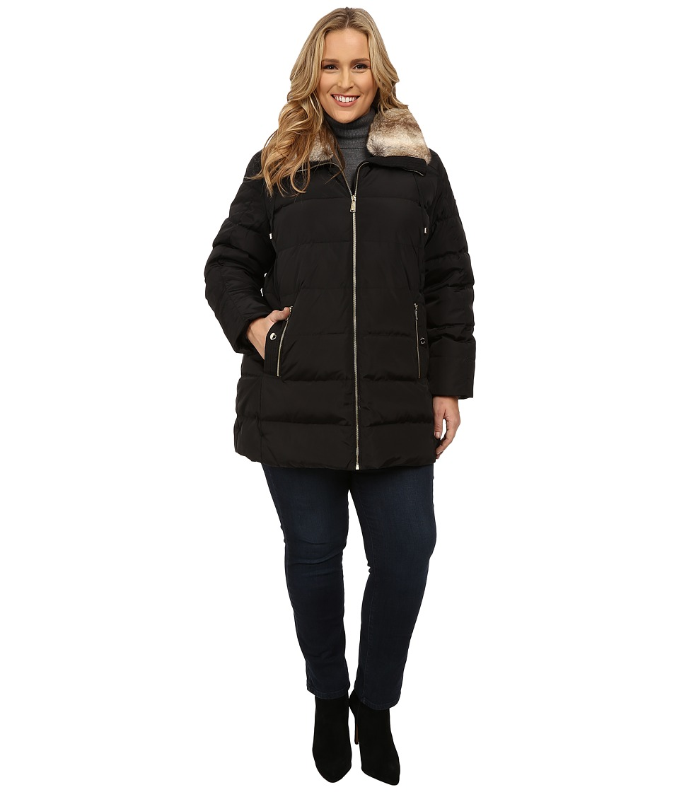 MICHAEL Michael Kors - Plus Size Zip Front Club Collar w/ Faux Fur (Black) Women's Coat