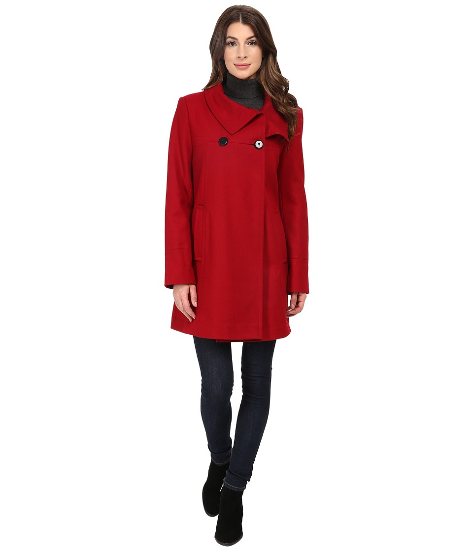 Larry Levine - 3/4 D/B Wool Swing Coat (Red) Women's Coat