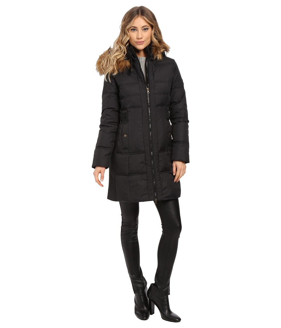 Larry Levine - 3/4 Down with Faux Racoon Fur Hood Side Belt (Black) Women's Coat