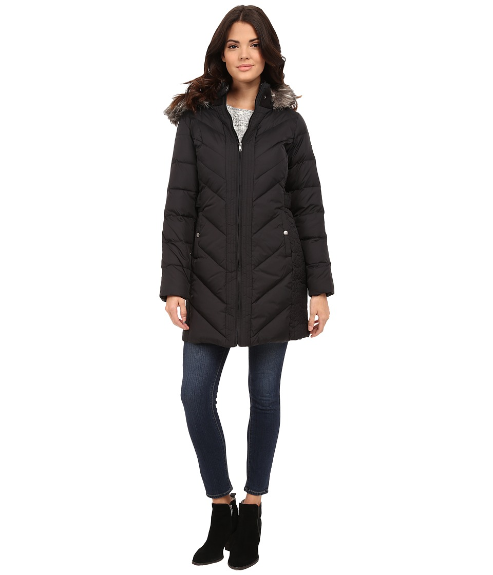 Larry Levine - 3/4 Chevron Down with Knit Faux Racoon Hood Fur Trim (Black) Women's Coat