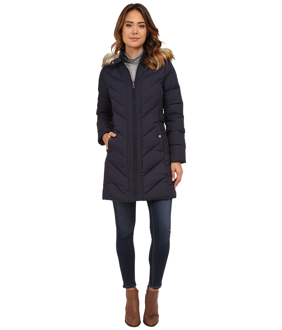 Larry Levine - 3/4 Chevron Down with Knit Faux Racoon Hood Fur Trim (Midnight) Women's Coat