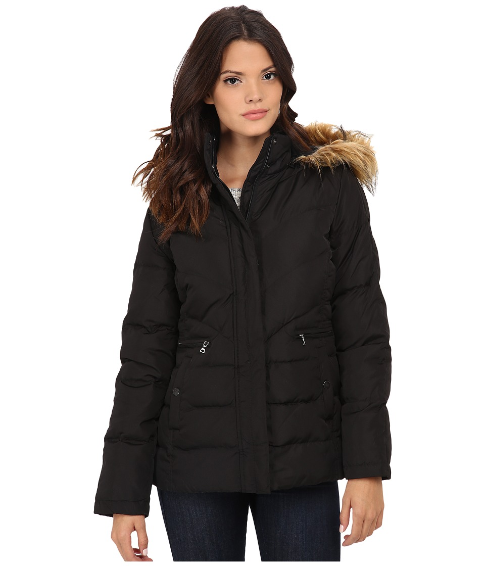 Larry Levine - Short Down with Faux Fur Hood (Black) Women