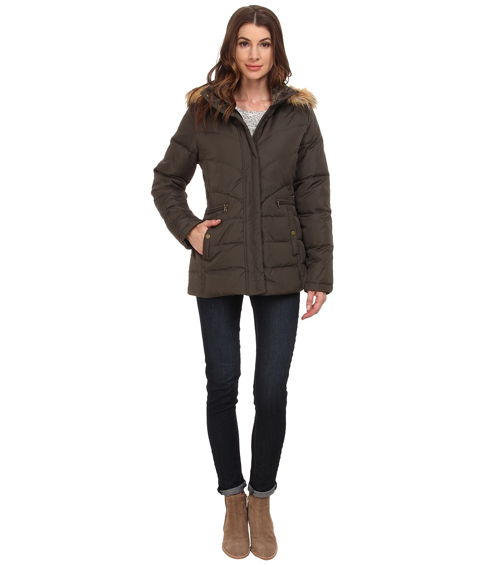 Larry Levine - Short Down with Faux Fur Hood (Loden) Women