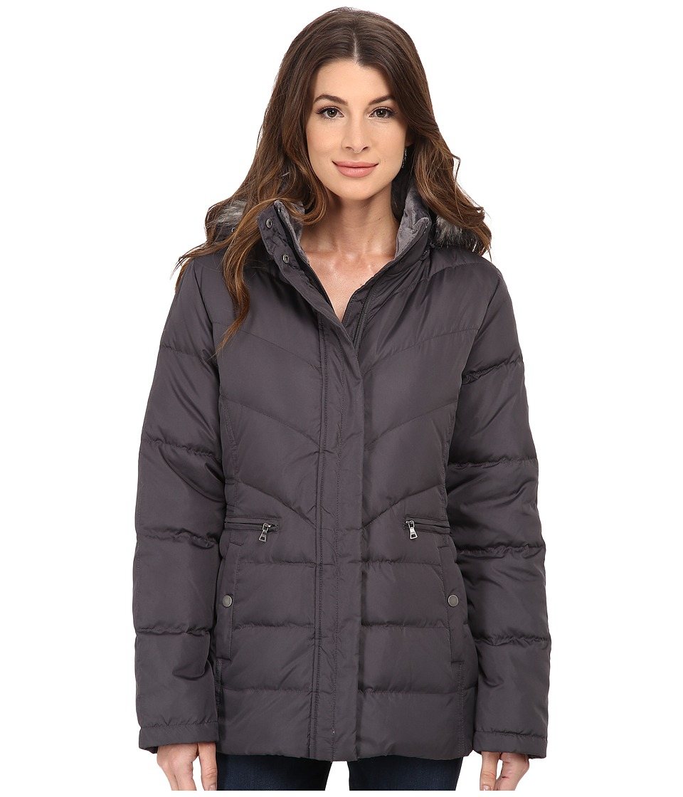 Larry Levine - Short Down with Faux Fur Hood (Steel) Women