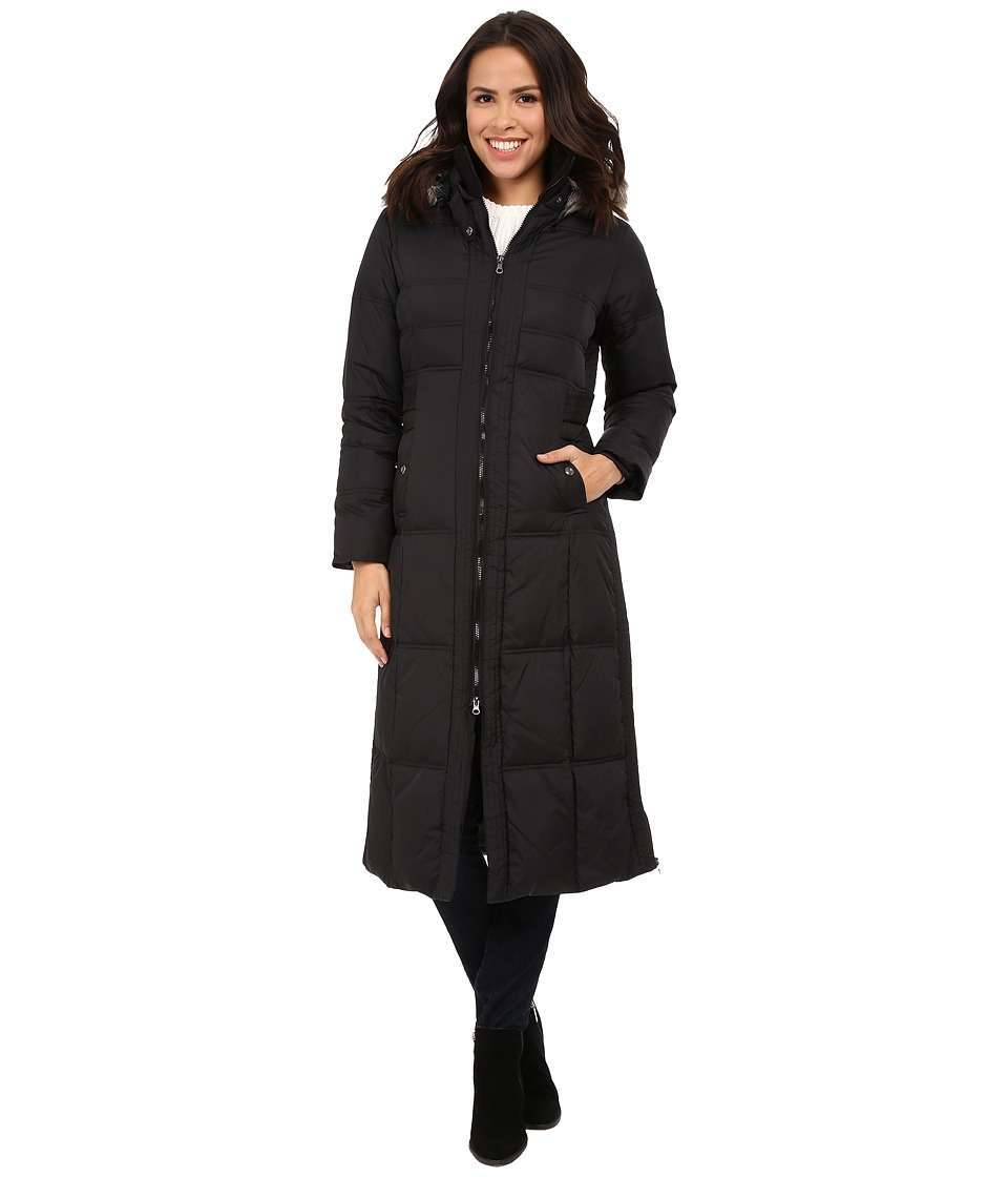 Larry Levine - Maxi Down with Racoon Faux Fur Hood (Black) Women