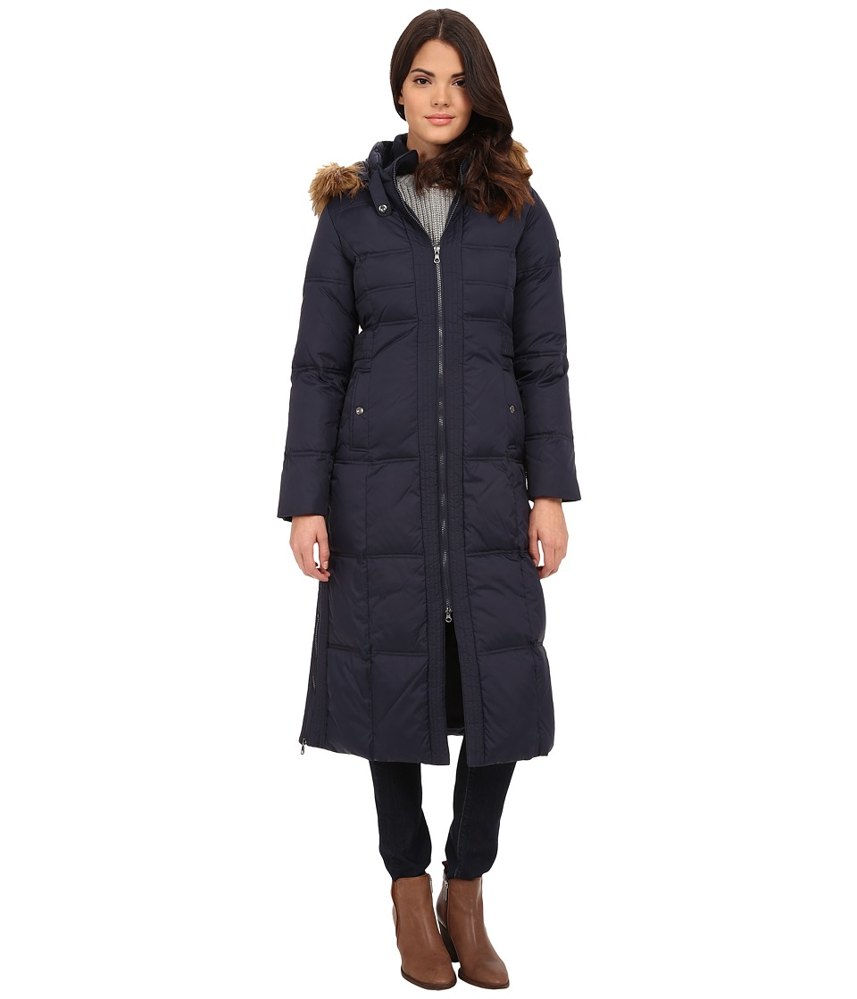 Larry Levine - Maxi Down with Racoon Faux Fur Hood (Midnight) Women