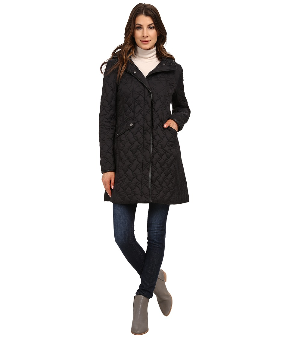 Larry Levine - 3/4 Puzzle Quilt with Hood (Black) Women's Coat