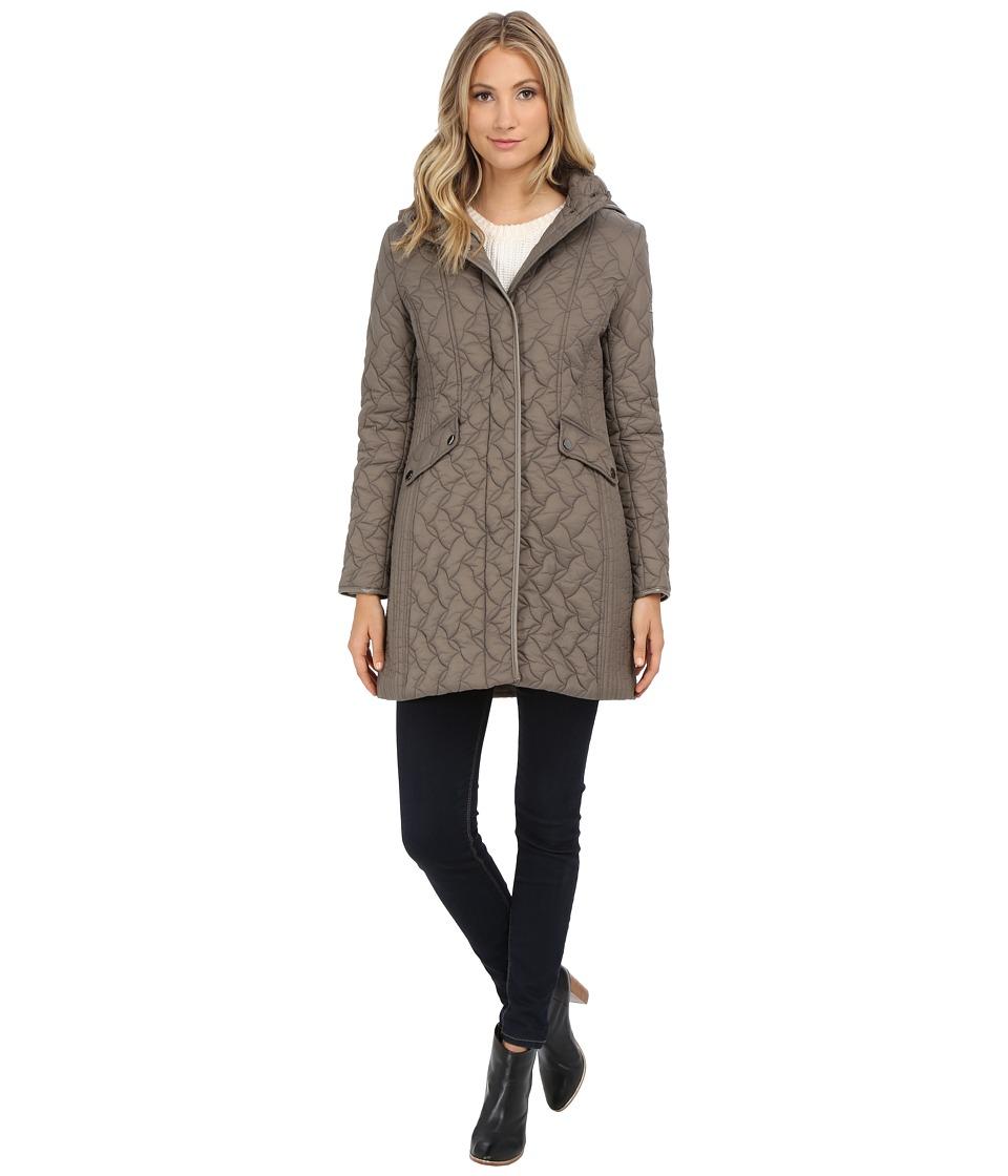 Larry Levine - 3/4 Puzzle Quilt with Hood (Mushroom) Women's Coat