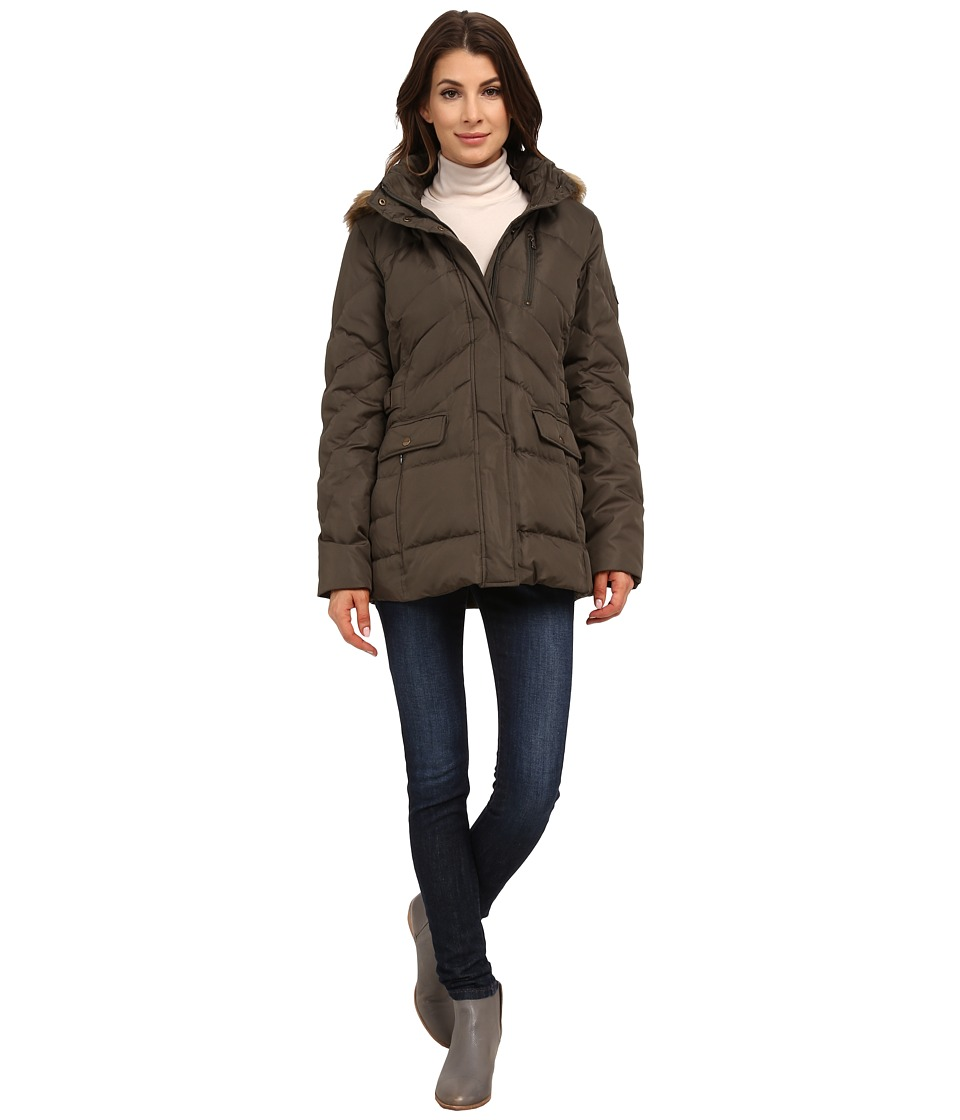 Larry Levine - Short Down with Faux Racoon Fur Hood (Loden) Women
