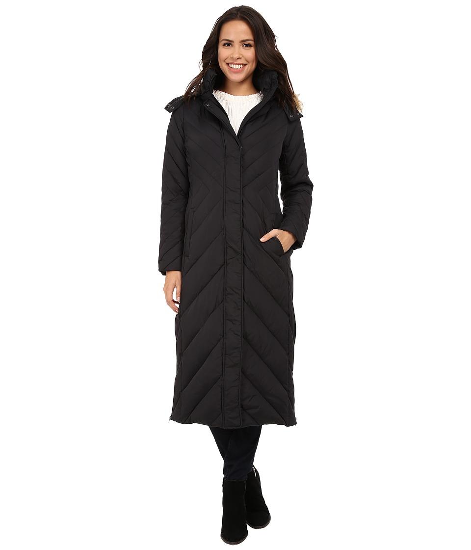 Larry Levine - Maxi Down with Racoon Faux Fur Hood (Black) Women's Coat