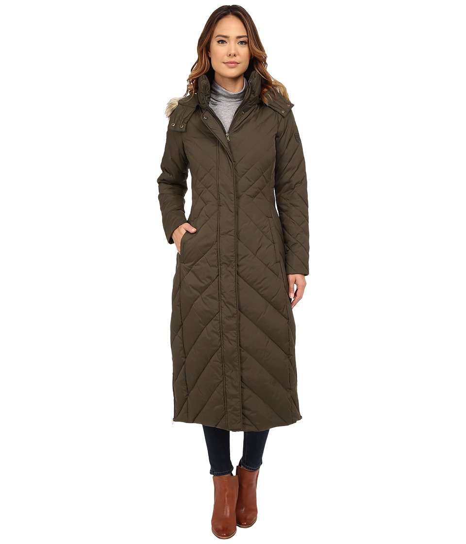 Larry Levine - Maxi Down with Racoon Faux Fur Hood (Loden) Women