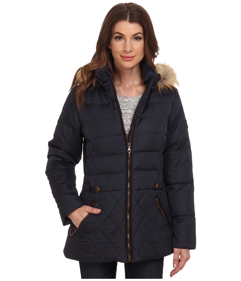 Larry Levine - Short Hooded Down with Faux Leather Trim (Midnight) Women