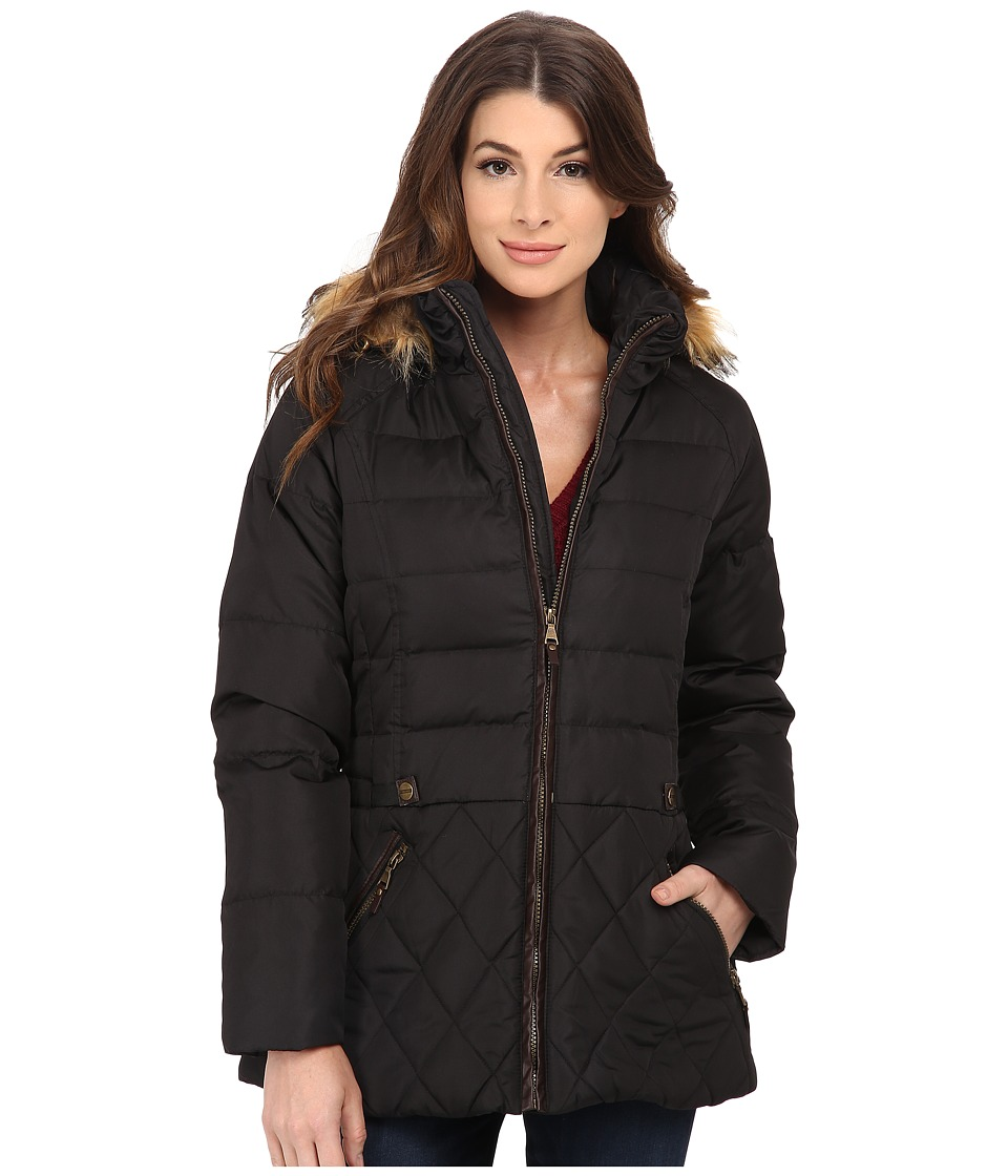 Larry Levine - Short Hooded Down with Faux Leather Trim (Black) Women's Coat