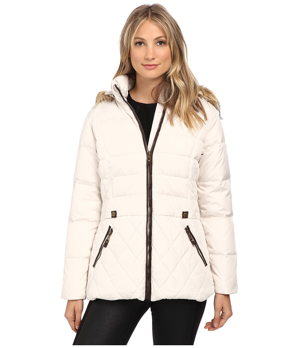 Larry Levine - Short Hooded Down with Faux Leather Trim (Ivory) Women's Coat