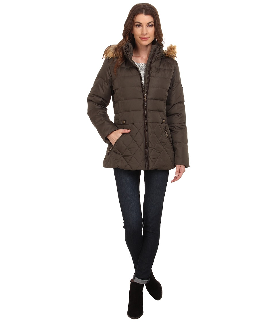 Larry Levine - Short Hooded Down with Faux Leather Trim (Loden) Women