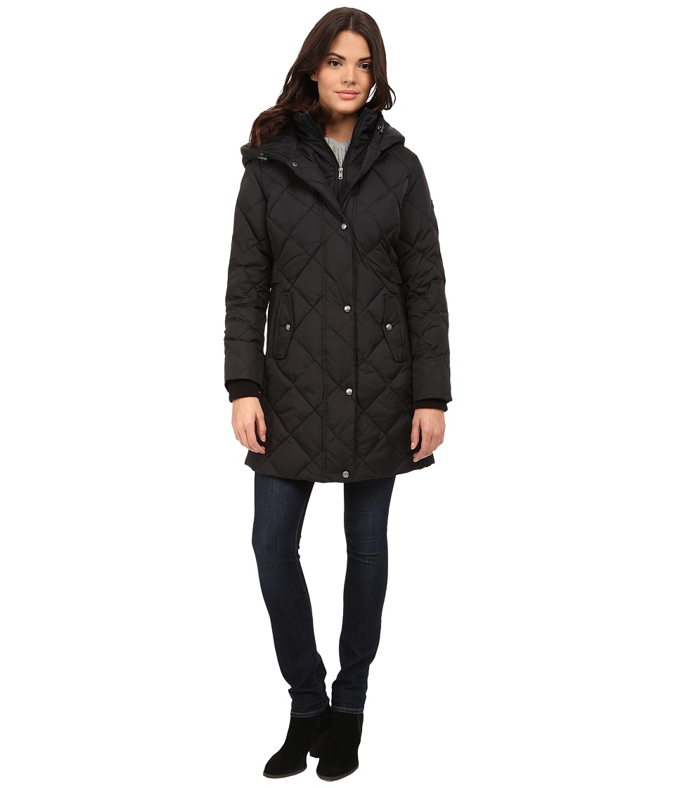 Larry Levine - 3/4 Down with Bib (Black) Women's Coat