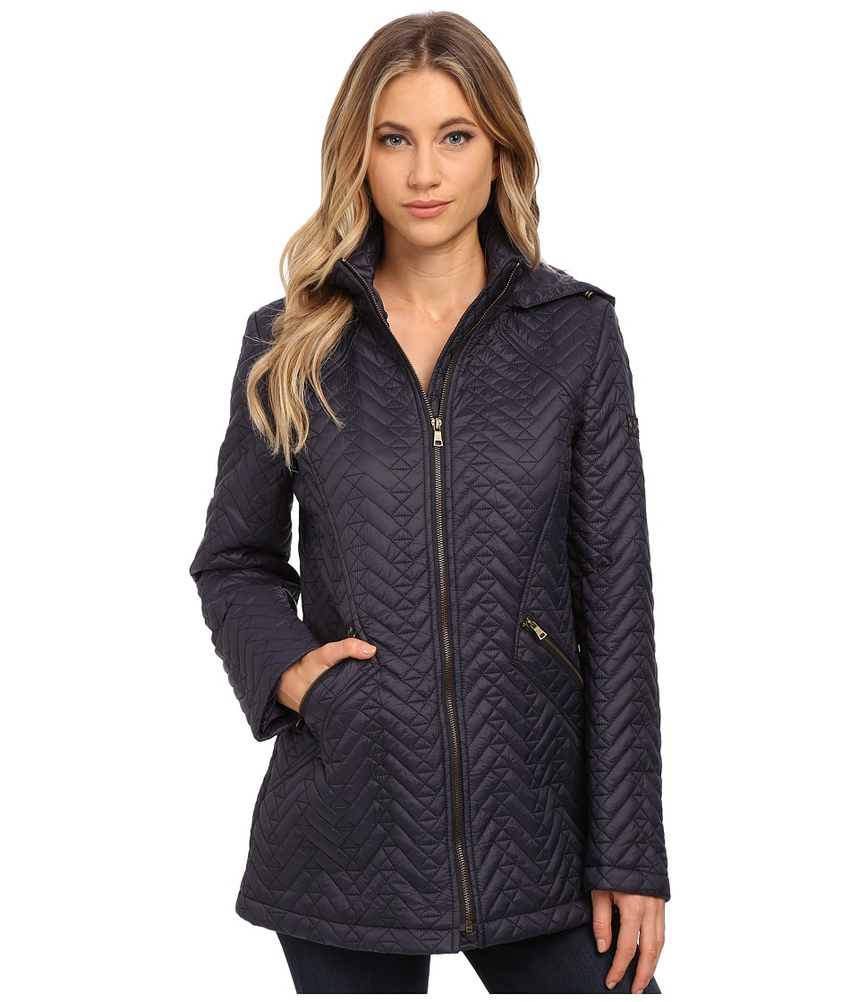 Larry Levine - Short Chevron Zip Front Quilt with Hood (Midnight) Women's Coat