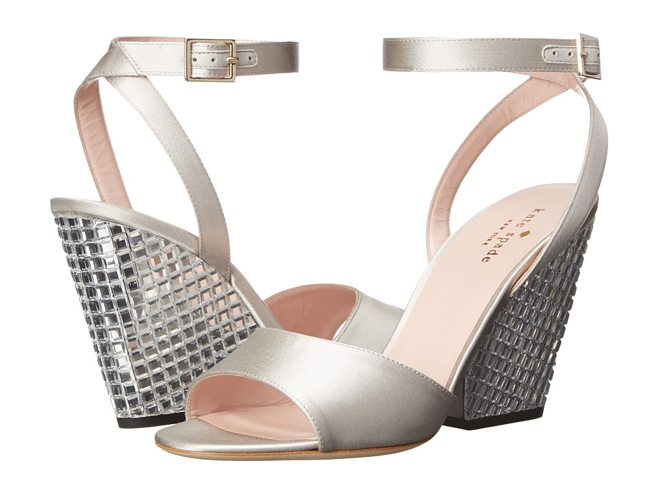 Kate Spade New York - Isadora (Dove Satin/Clear Stoned Heel) Women's Toe Open Shoes