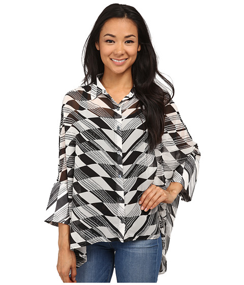 Miraclebody Jeans - Camp Shirt Broken Arrow Print Top w/ Body-Shaping Inner Shell (Black) Women