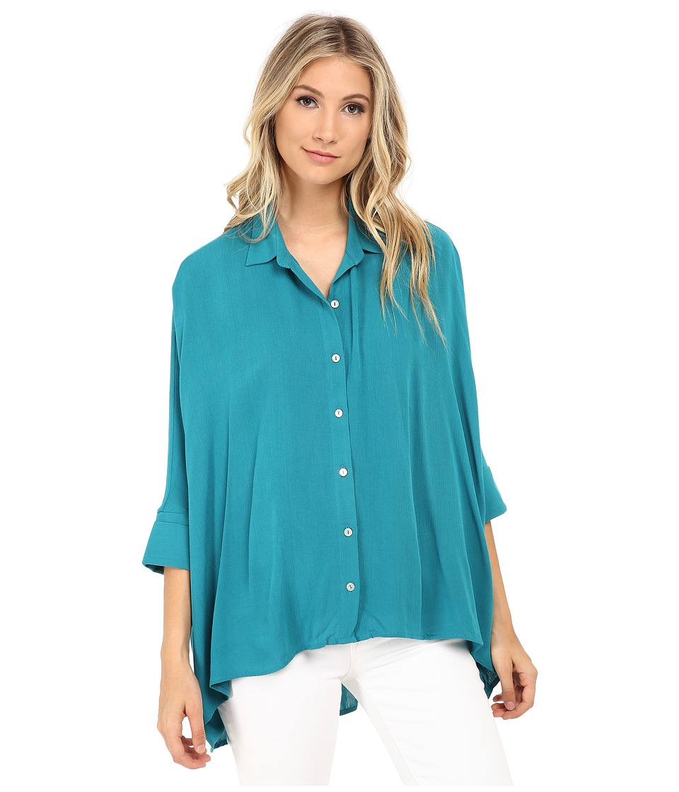 Miraclebody Jeans - Solid Camp Shirt w/ Body-Shaping Inner Shell (Teal Green) Women's Clothing