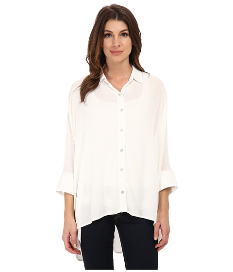Miraclebody Jeans - Solid Camp Shirt w/ Body-Shaping Inner Shell (Ivory White) Women