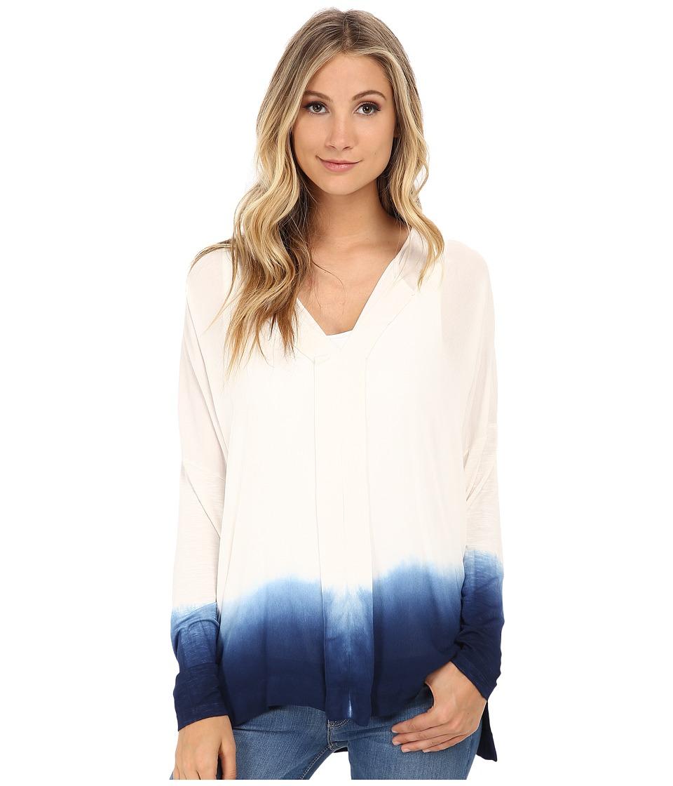 Miraclebody Jeans - Eva Dip Dye Envelope Top w/ Body-Shaping Inner Shell (Navy Blue) Women's Clothing