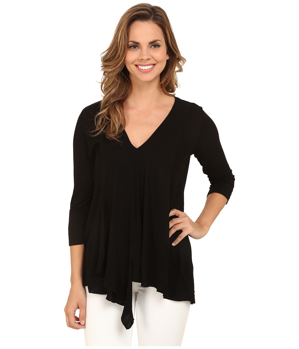 Miraclebody Jeans - Alyse Asymmetrical Top w/ Body-Shaping Inner Shell (Black) Women's Long Sleeve Pullover