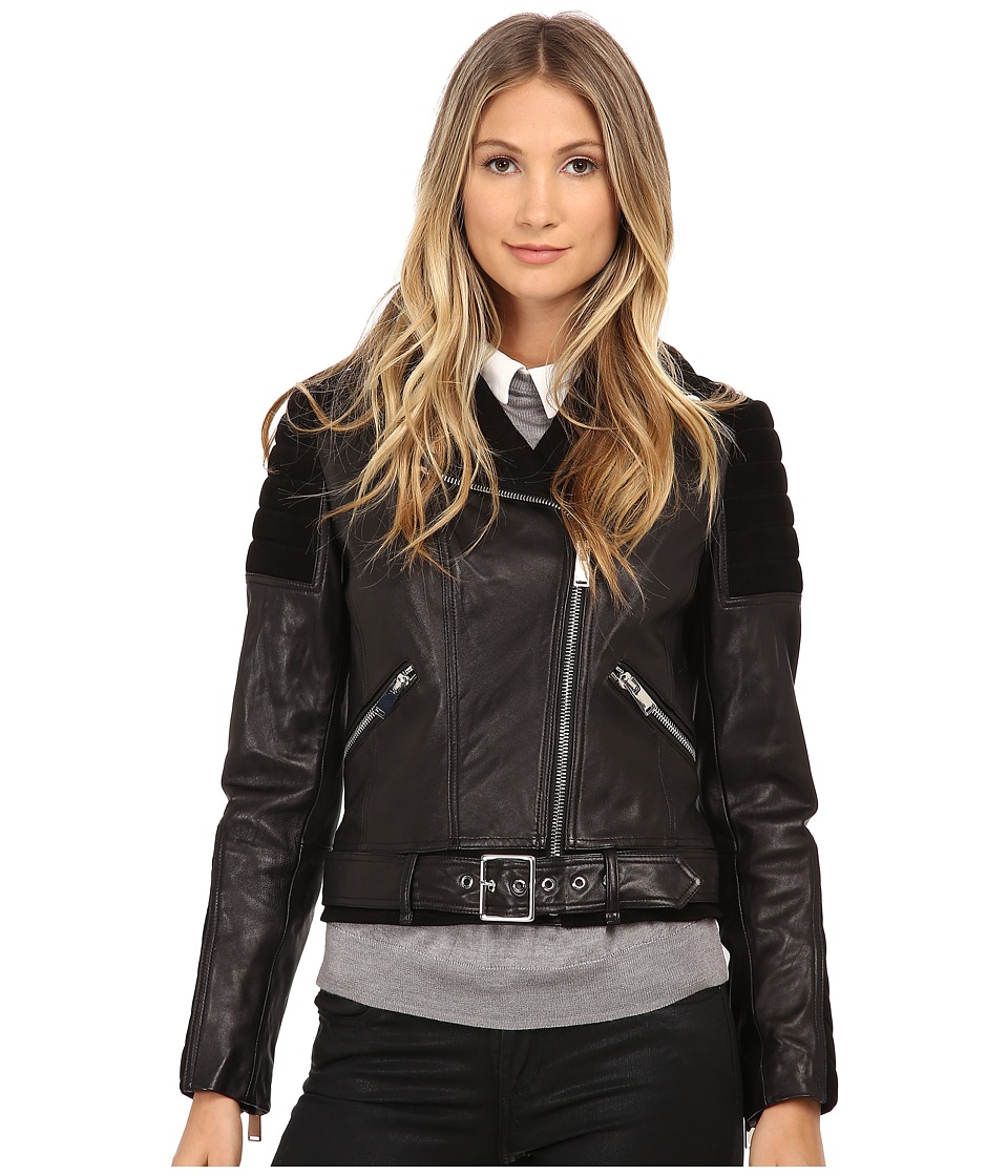 Nicole Miller - Asymetrical Zip Front Leather Moto - Lamb Skin and Goat Suede Combination (Black) Women's Coat