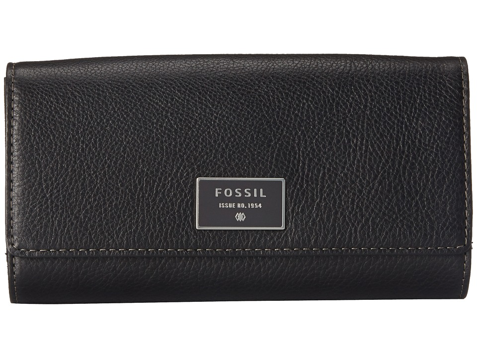 Fossil - Dawson Flap Clutch (Black) Wallet Handbags