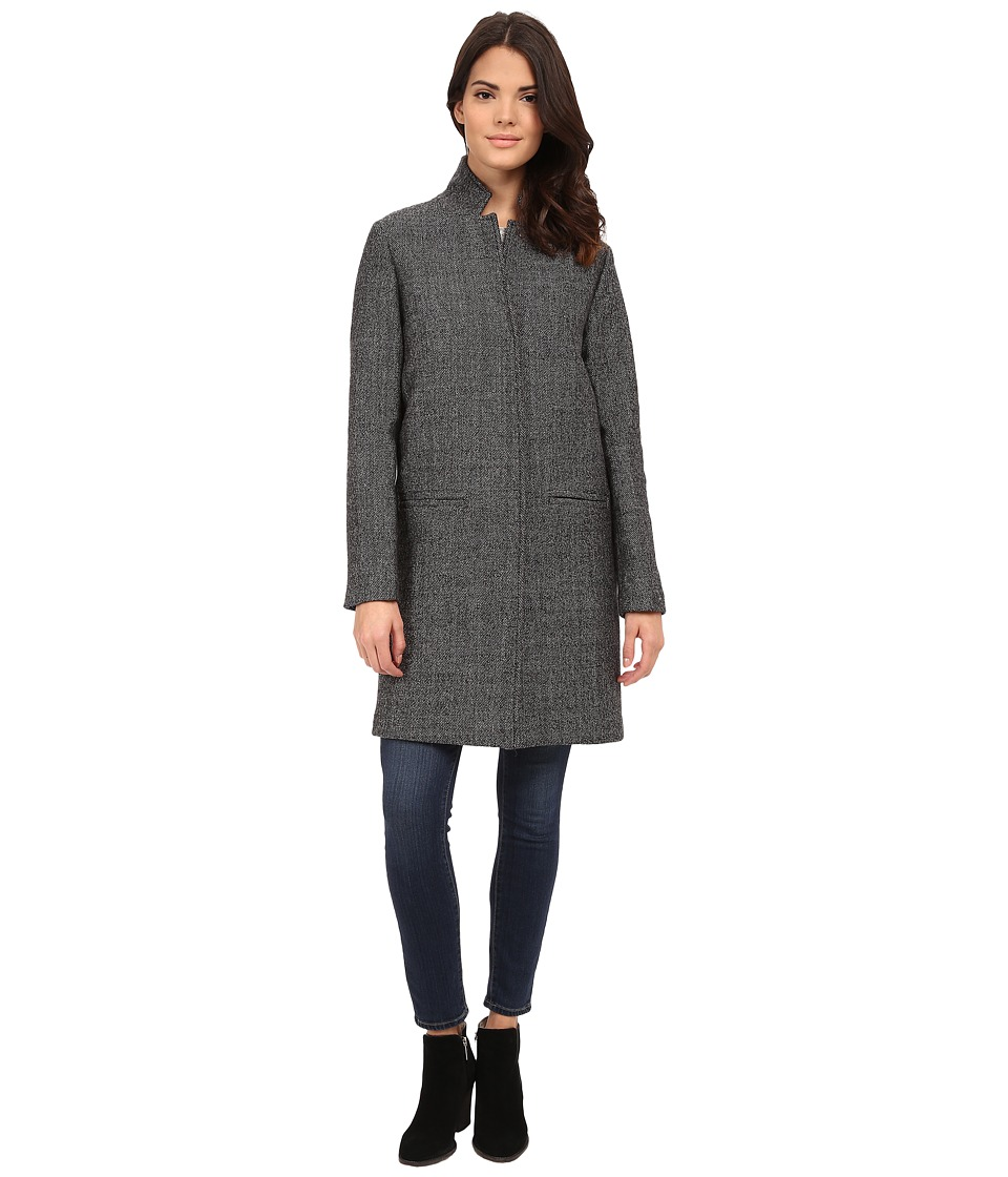 Nicole Miller - Single Breasted Slim Fit Double Faced Wool Coat (Black/White Tweed) Women's Coat