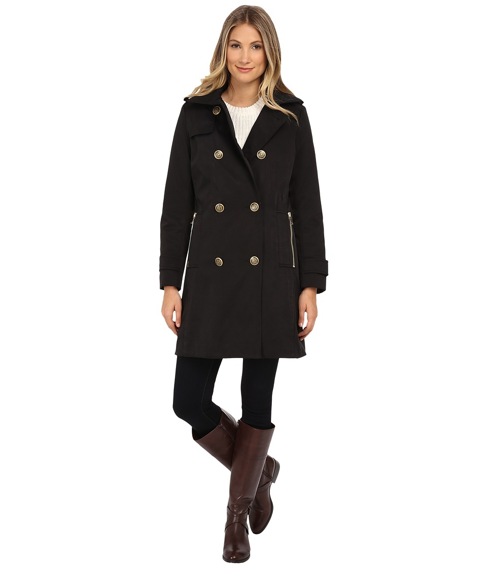 Nicole Miller - Double Breasted Rain Coat with Quilted Liner (Black) Women's Coat