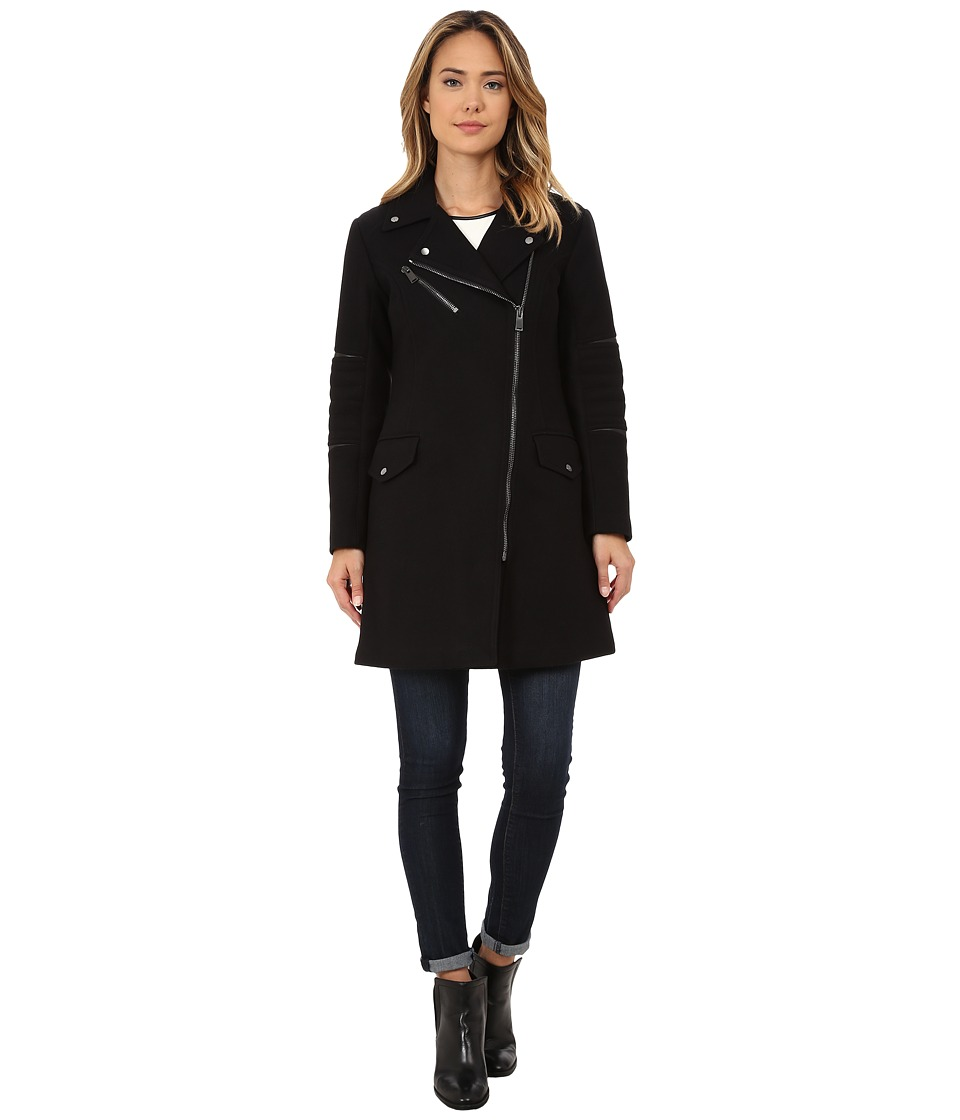 Nicole Miller - Walker Asymmetrical Zip Front Wool Coat with Shouler Detailing (Black/Vicuna) Women's Coat