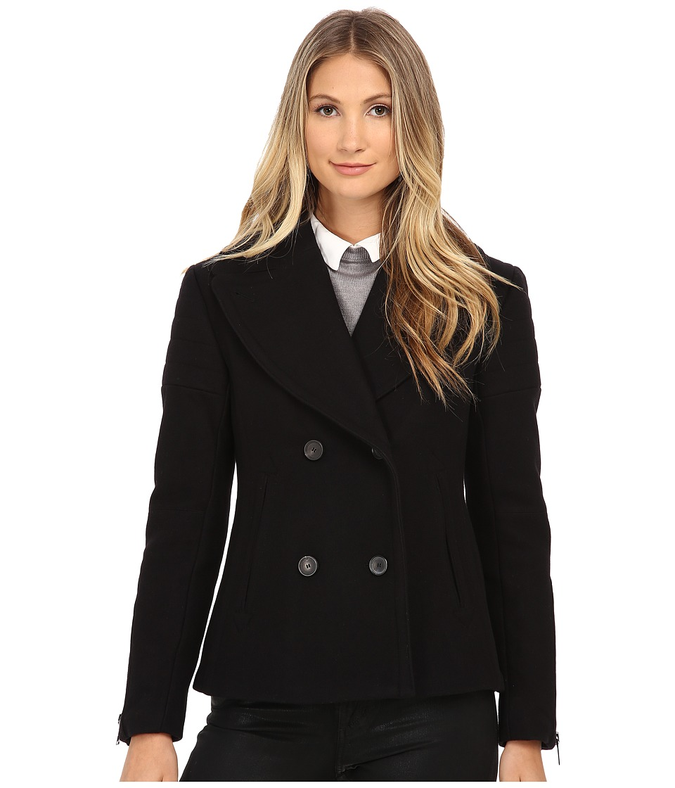 Nicole Miller - Double Breasted Peacoat with Shouler Detailing (Black) Women's Coat