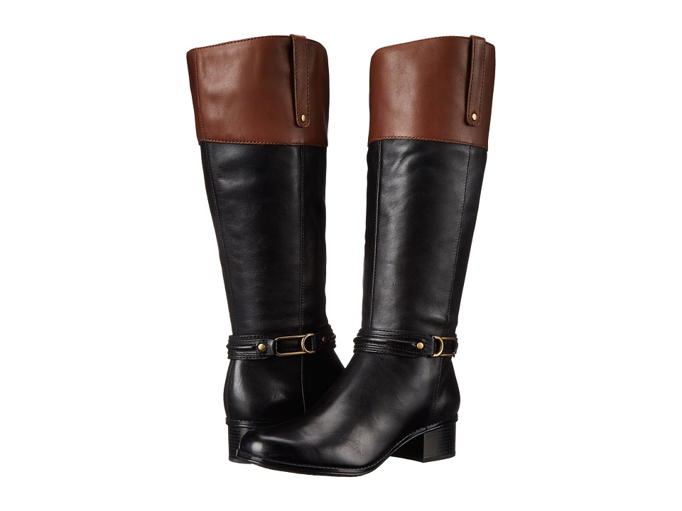 Bandolino - Coloradeew (Black/Cognac Leather) Women's Boots