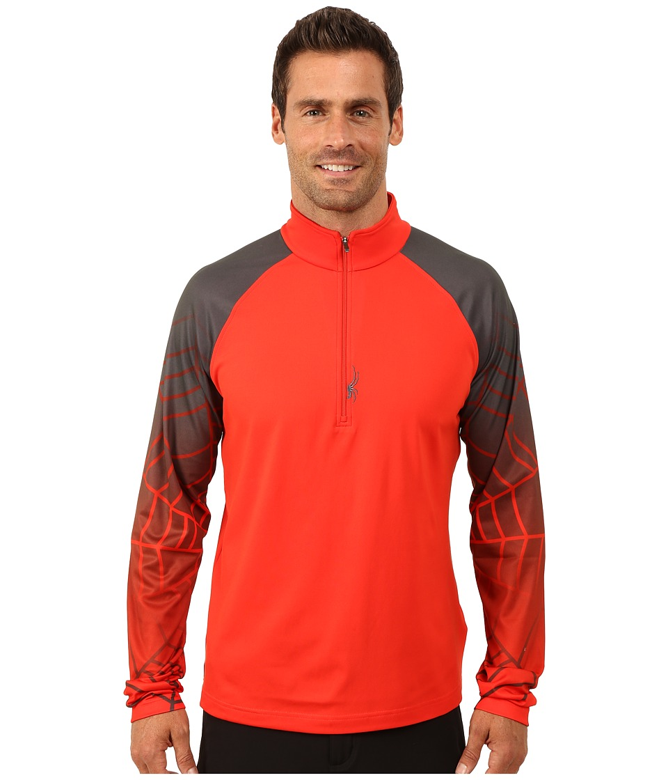 Spyder - Linear Web Dry W.E.B. T-Neck Top (Volcano/Polar) Men's Long Sleeve Pullover