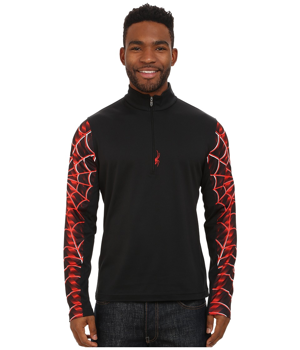 Spyder - Webstrong Dry W.E.B. T-Neck Top (Black/Volcano) Men's Long Sleeve Pullover