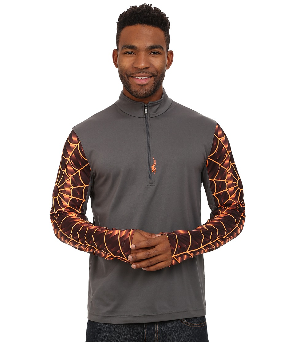 Spyder - Webstrong Dry W.E.B. T-Neck Top (Polar/Bryte Orange) Men's Long Sleeve Pullover