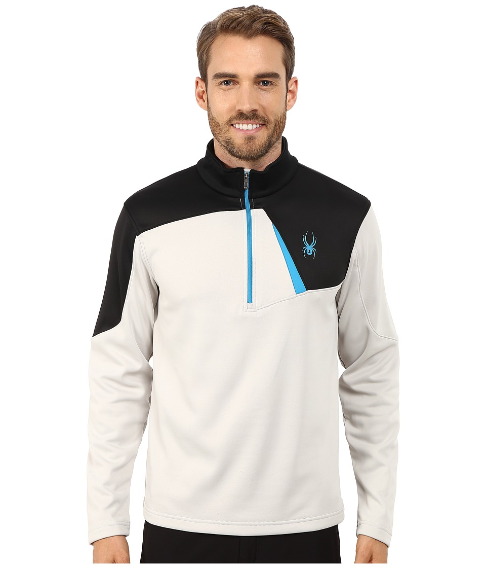 Spyder - Charger Therma Stretch T-Neck Top (Cirrus/Black/Electric Blue) Men's Long Sleeve Pullover