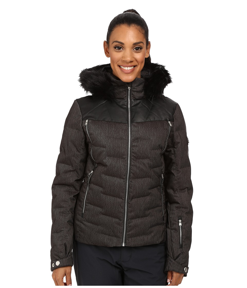 Spyder - Falline Faux Fur Jacket (Black Denim) Women's Coat