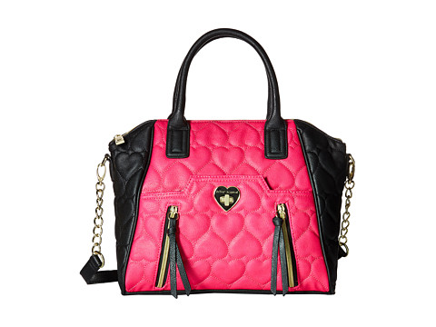 Betsey Johnson - Be Mine Double Zip Satchel (Fuchsia/Black) Satchel Handbags