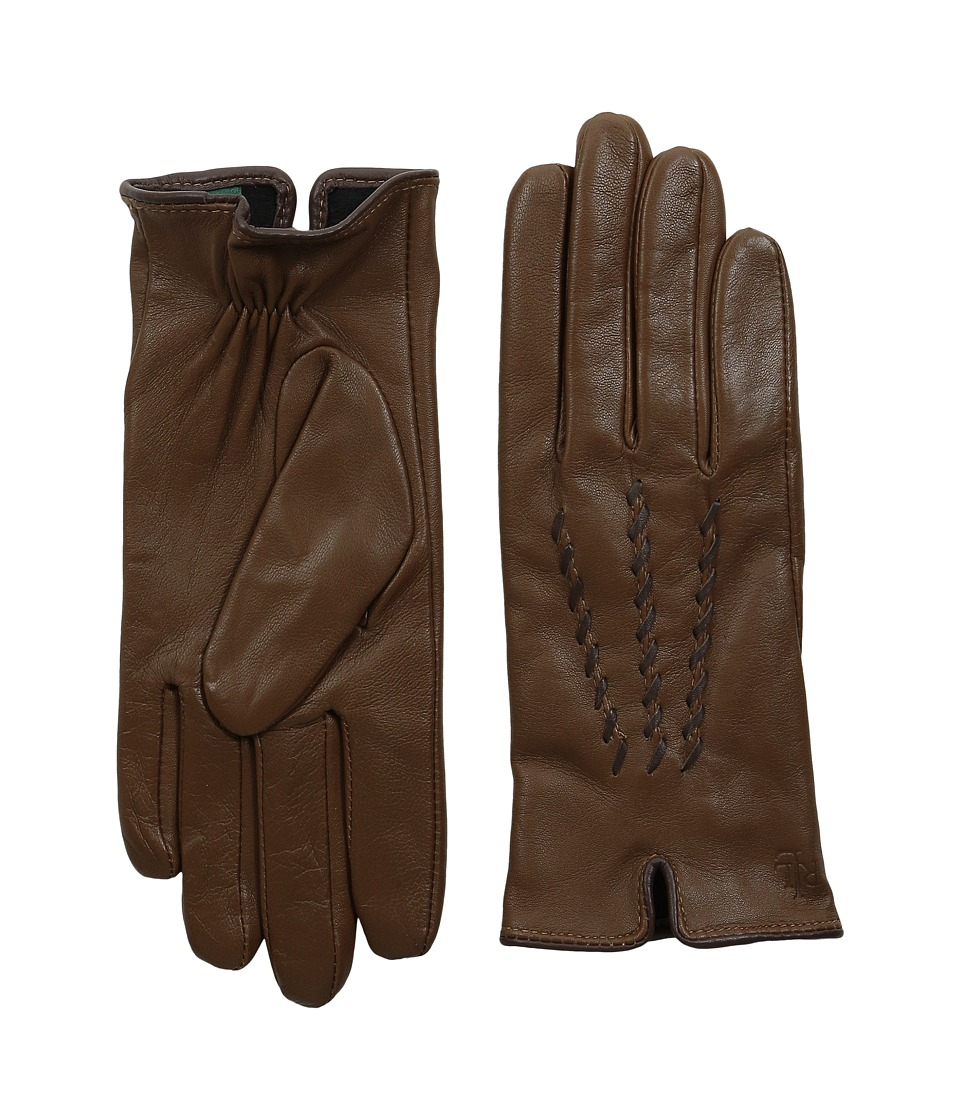 LAUREN Ralph Lauren - Whip Stitch Points Glove (New Saddle/Coffee) Extreme Cold Weather Gloves