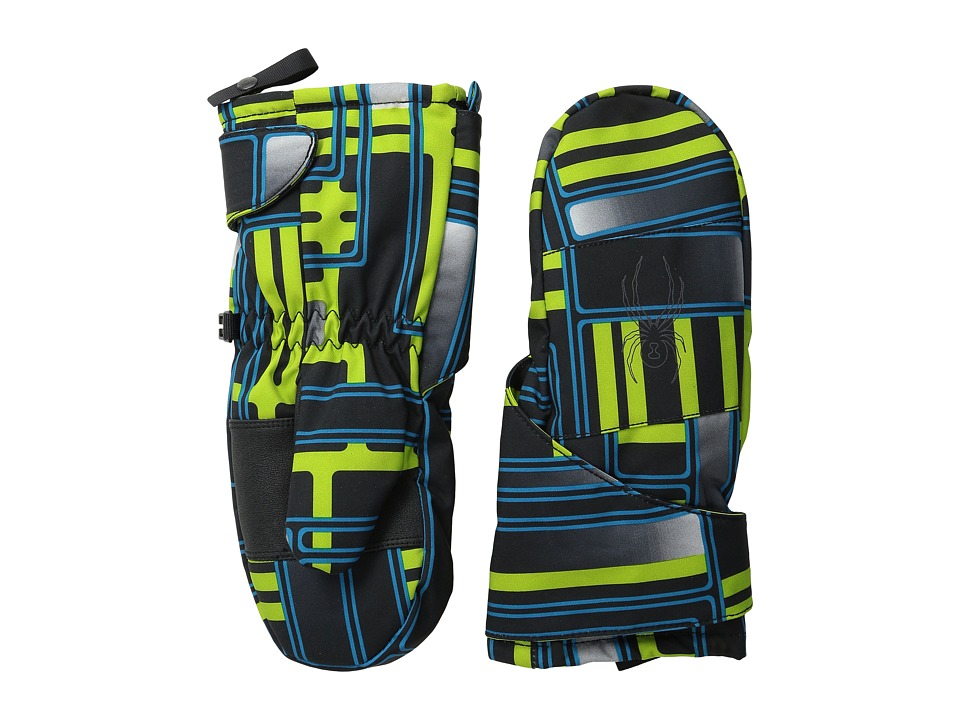 Spyder Kids - Mini Cubby Ski Mitten (Toddler/Little Kids/Big Kids) (Theory Green Routed Print/Polar) Ski Gloves